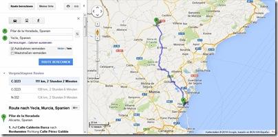 Route nach Yecla