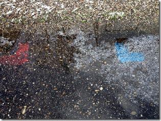 Stellplatzmarkierungen unter Wasser
